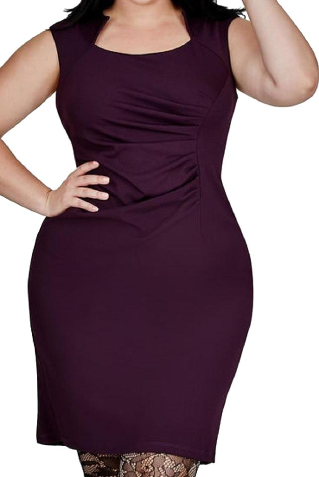 Ashley Stewart Purple (Plum) Ruched Sheath Mid-length Night Out Dress Size  20 (Plus 1x)