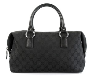 Gucci Handbag Black Monogram Monogram Leather Satchel in Black Guccissima