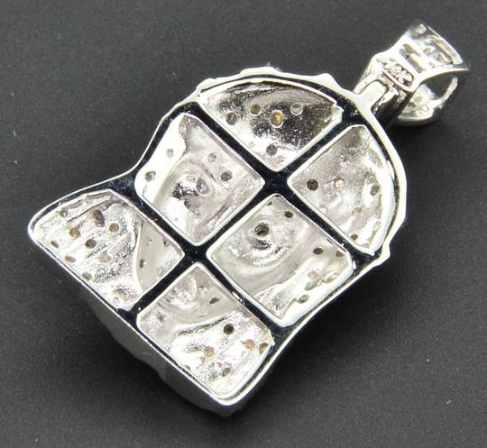 Jewelry For Less Diamond Jesus Face Pendant 10K White Gold 0.18 Ct Mini Sideways Charm Image 2