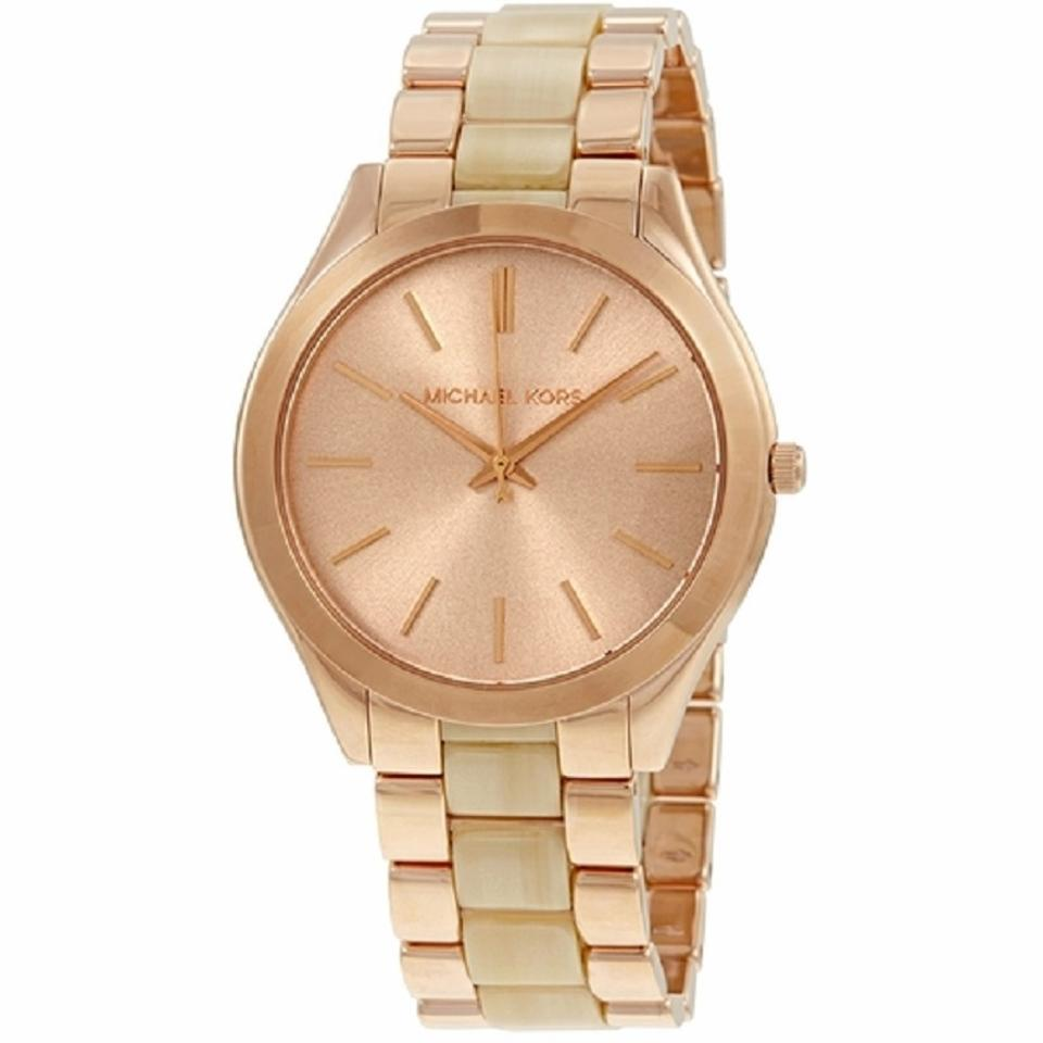 21df78403 Michael Kors Rose Gold Slim Runway Gold-tone Ladies Mk3714 Watch 42% off  retail