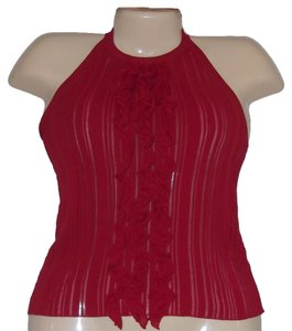 Moschino Ruffle Size 6 Knit Red Halter Top