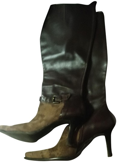 Preload https://img-static.tradesy.com/item/22864868/franco-sarto-brown-light-brown-two-tone-suede-leather-knee-high-zip-up-rare-pointed-bootsbooties-siz-0-3-540-540.jpg