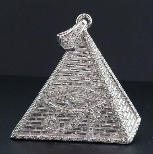 Jewelry For Less Diamond Eye of Ra Pyramid .925 Sterling Silver 0.60 Ct Pendant w/Chain Image 1