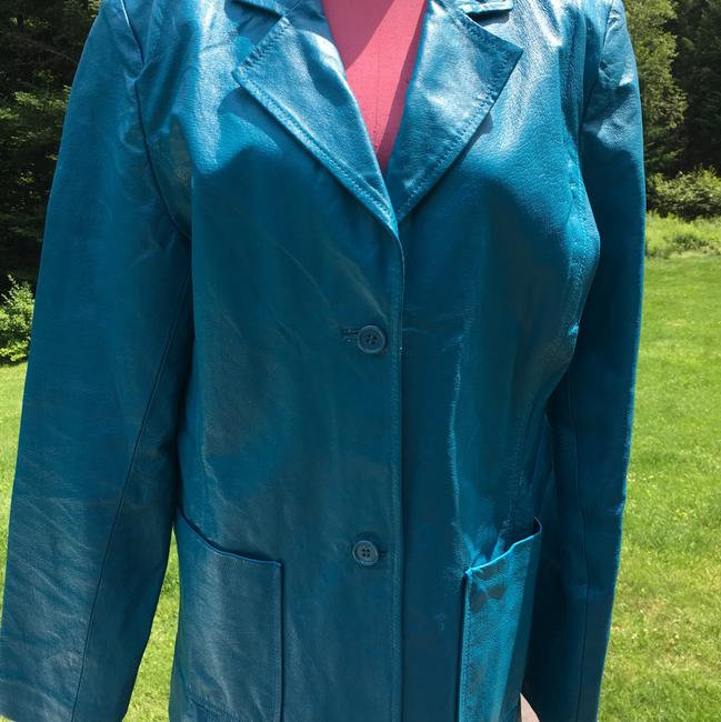 Metrostyle Leather Jacket Sky Blue sky blue Leather Jacket Image 2