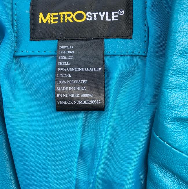 Metrostyle Leather Jacket Sky Blue sky blue Leather Jacket Image 4