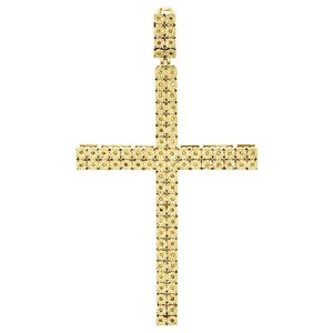 Jewelry For Less Genuine Yellow Diamond Cross Pendant 925 Sterling Silver Charm .27 Ct