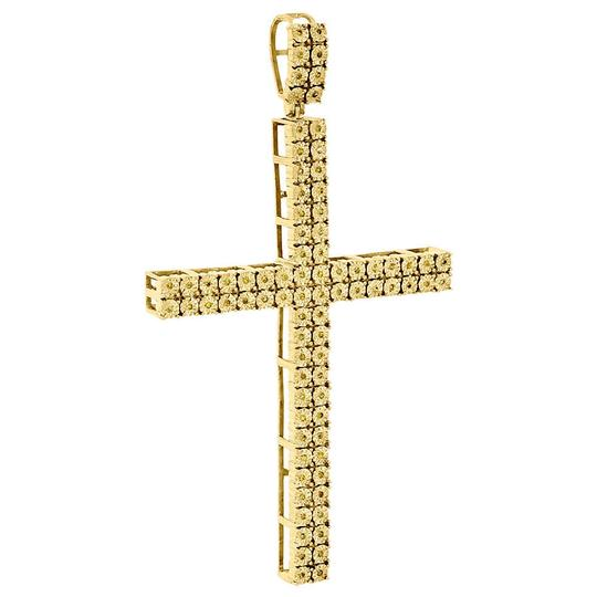 Jewelry For Less Genuine Yellow Diamond Cross Pendant 925 Sterling Silver Charm .27 Ct Image 1
