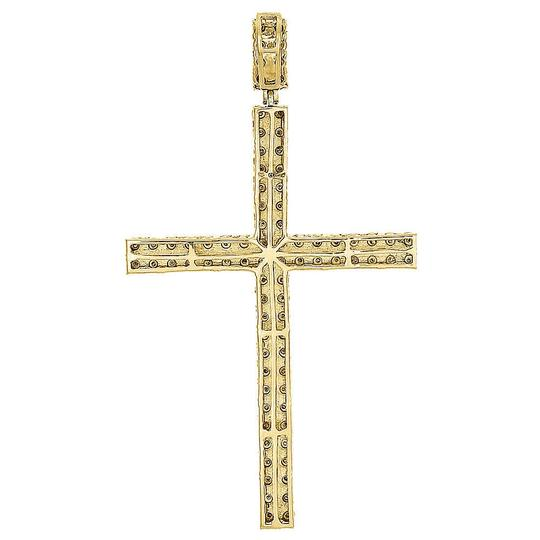 Jewelry For Less Genuine Yellow Diamond Cross Pendant 925 Sterling Silver Charm .27 Ct Image 2