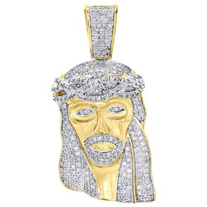 Jewelry For Less .925 Sterling Silver Diamond Jesus Face Pendant 1.60