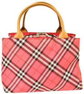 Burberry Nova Leather Brown Tote in Pink