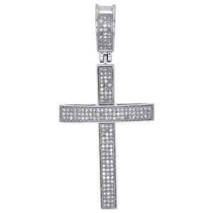 Jewelry For Less 925 Sterling Silver Diamond Cross Pendant Pave Domed Charm 0.65 ct.