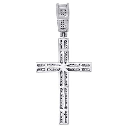 Jewelry For Less 925 Sterling Silver Diamond Cross Pendant Pave Domed Charm 0.65 ct. Image 2