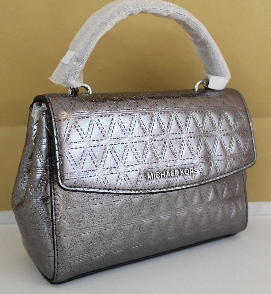 7d0faabd0723 Michael Kors Extra-small Ava Quilted Gunmetal Leather Cross Body Bag ...