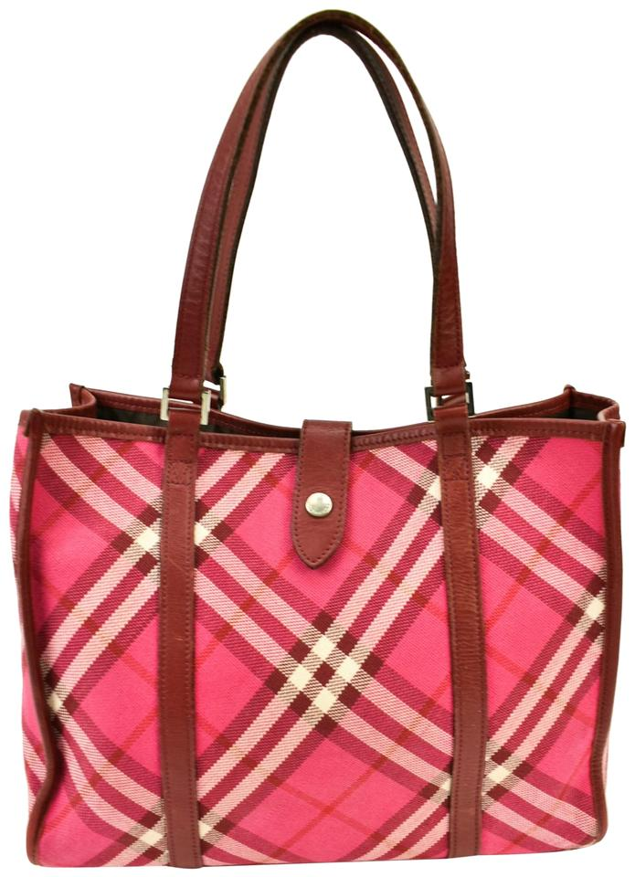 af224e05300f Burberry Blue Label Check Pink Canvas Tote - Tradesy