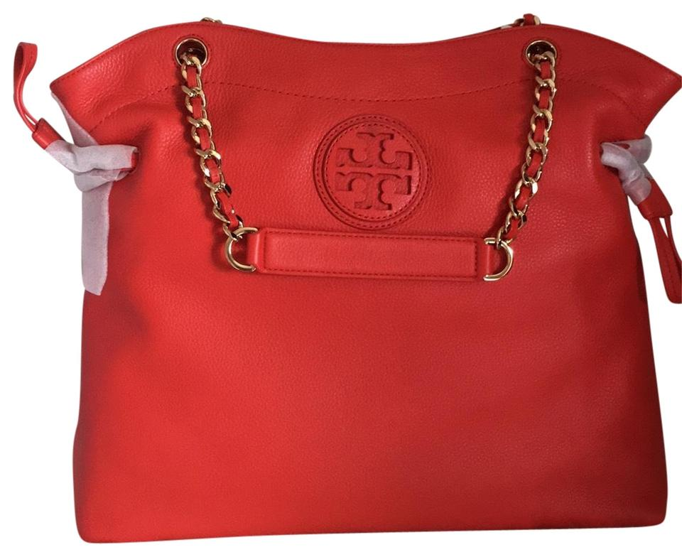 ebcb2df0390 Tory Burch Marion Slouchy Red Tote - Tradesy