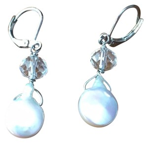 White Coin Pearl With Crystal Pierced Earrings beautiful wht coin pearl with crystal pierced earrings