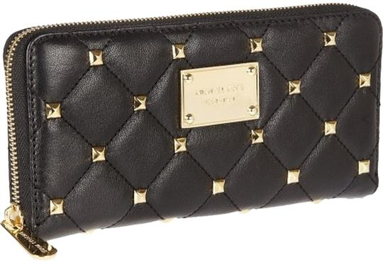 Preload https://item1.tradesy.com/images/michael-kors-black-w-gold-details-studded-and-quilted-zip-around-wallet-2286510-0-0.jpg?width=440&height=440