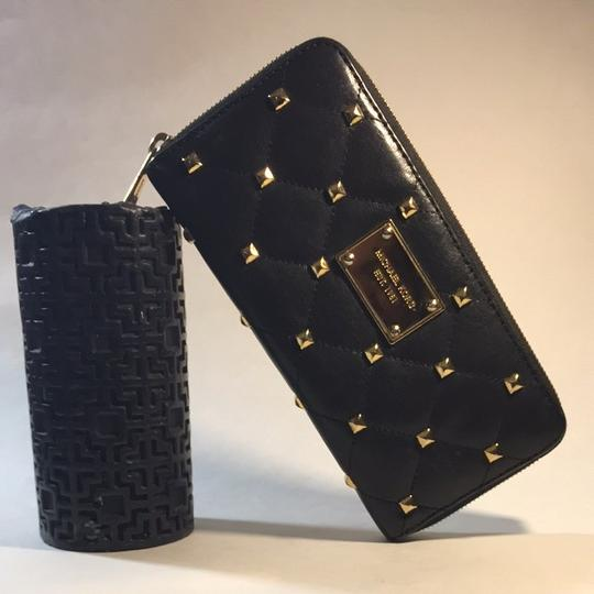 Michael Kors Michael Kors Black Studded & Quilted Zip Around Wallet