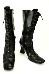 Prada Lace Up Black Leather Boots