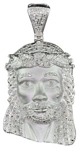 Jewelry For Less Diamond Jesus Crying Face Pendant .925 Sterling Silver 0.60 Ct Charm