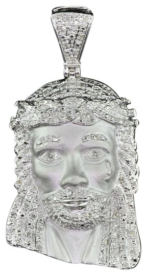 Preload https://img-static.tradesy.com/item/22865158/jewelry-for-less-silver-diamond-jesus-crying-face-pendant-925-sterling-060-ct-charm-0-1-540-540.jpg