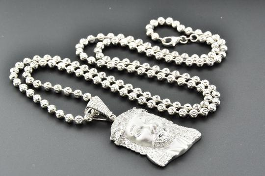 Jewelry For Less Diamond Jesus Crying Face Pendant .925 Sterling Silver 0.60 Ct Charm Image 6