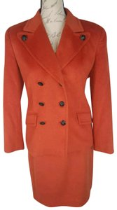 Wathne Orange angoro cashmere rabbit hair double breasted skirt suit