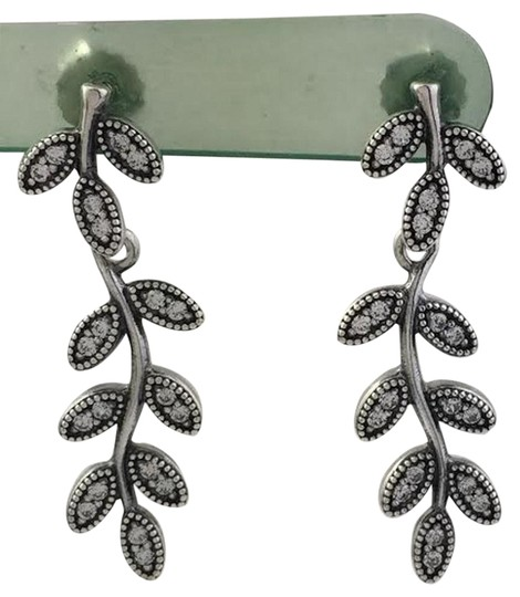 PANDORA Authentic Pandora Sparkling Leaves Dangle Earrings 290565CZ, New Image 0