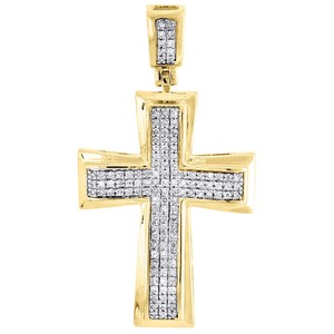 Jewelry For Less Diamond Cross Pendant Yellow Gold Mens Pave Charm 0.43 Ct.