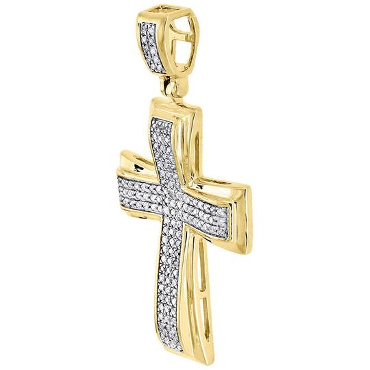 Jewelry For Less Diamond Cross Pendant Yellow Gold Mens Pave Charm 0.43 Ct. Image 1