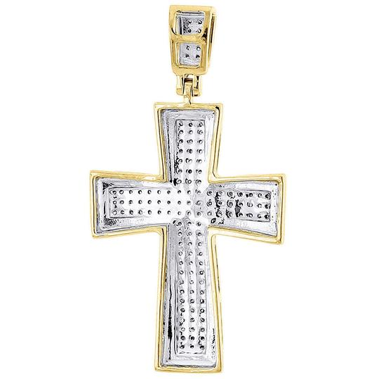 Jewelry For Less Diamond Cross Pendant Yellow Gold Mens Pave Charm 0.43 Ct. Image 2