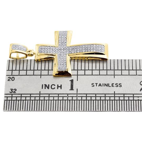 Jewelry For Less Diamond Cross Pendant Yellow Gold Mens Pave Charm 0.43 Ct. Image 3