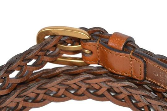 Gucci Gucci Women's Braided Leather Belt with Gold Buckle 380607 Size 36 Image 1