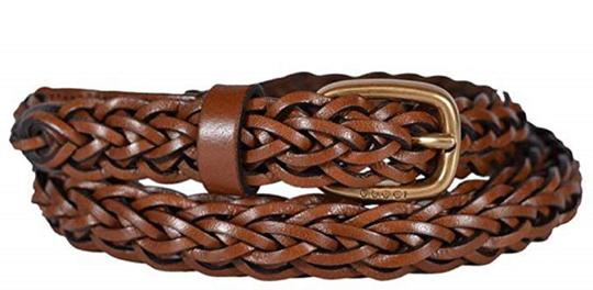 Gucci Gucci Women's Braided Leather Belt with Gold Buckle 380607 Size 36 Image 2