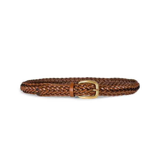 Gucci Gucci Women's Braided Leather Belt with Gold Buckle 380607 Size 36 Image 3