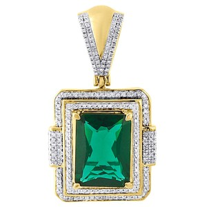 Jewelry For Less 925 Sterling Silver Diamond Created Emerald Green Pendant Charm .45 Ct