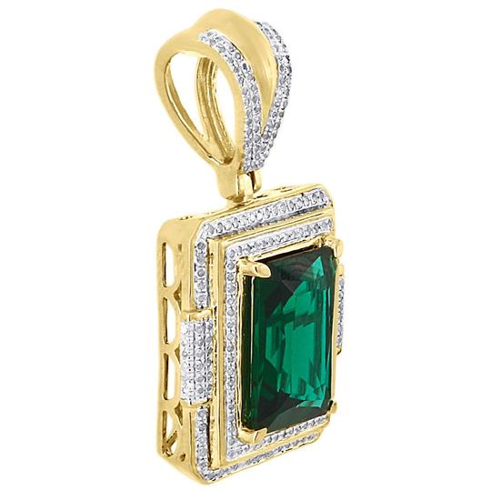 Jewelry For Less 925 Sterling Silver Diamond Created Emerald Green Pendant Charm .45 Ct Image 1