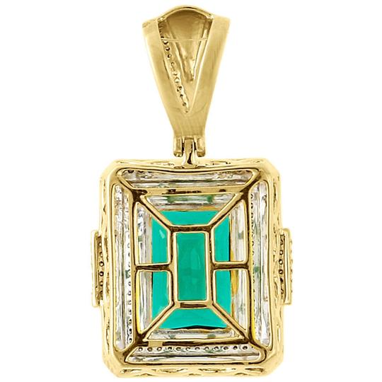 Jewelry For Less 925 Sterling Silver Diamond Created Emerald Green Pendant Charm .45 Ct Image 2