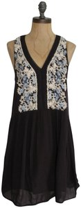Urban Outfitters short dress FADE BLACK Embroidered Babydoll Free People Ecote on Tradesy