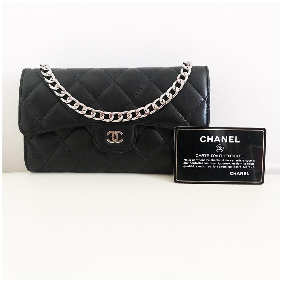 c5cb52d77716 Chanel Classic Flap Wallet  with Chain Added  Black Lambskin Leather ...