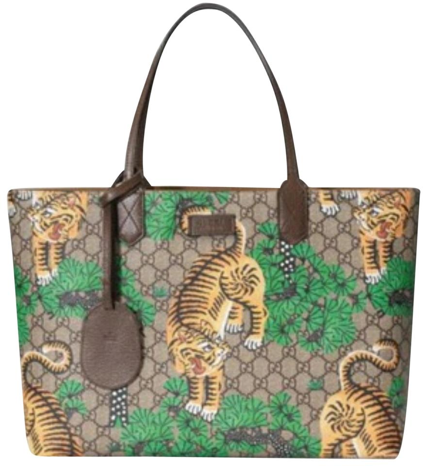 80072d9113cb15 Gucci Nwts Gg Bengal Medium Canvas/Leather Tote - Tradesy