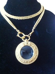 Chanel Iconic Chanel Gold-tone Necklace w/ Magnifying Glass Loupe Pendant