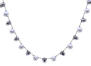 Avital & Co Jewelry 8mm Pearl Necklace Made In Italy 14K White Gold