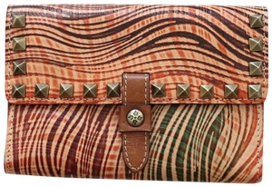 Patricia Nash Designs Wavy Stripe Studded Leather Colli Flap Clutch Wallet