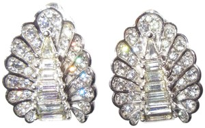 Other Pennino Crystal Baguette Clip Earrings 1950's Mid Century Signed