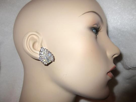 Other Pennino Crystal Baguette Clip Earrings 1950's Mid Century Signed Image 1