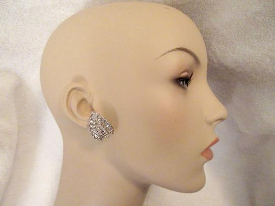 Other Pennino Crystal Baguette Clip Earrings 1950's Mid Century Signed Image 10