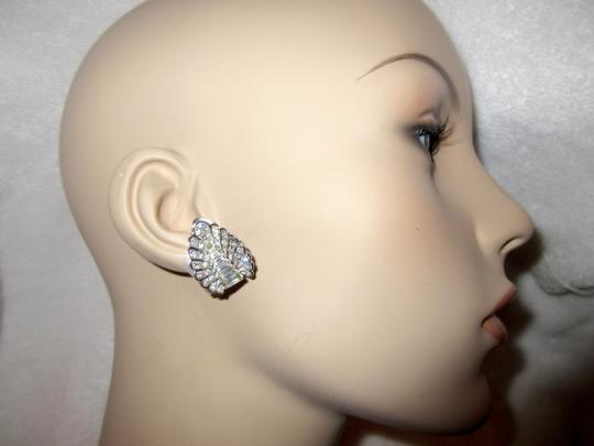 Other Pennino Crystal Baguette Clip Earrings 1950's Mid Century Signed Image 2
