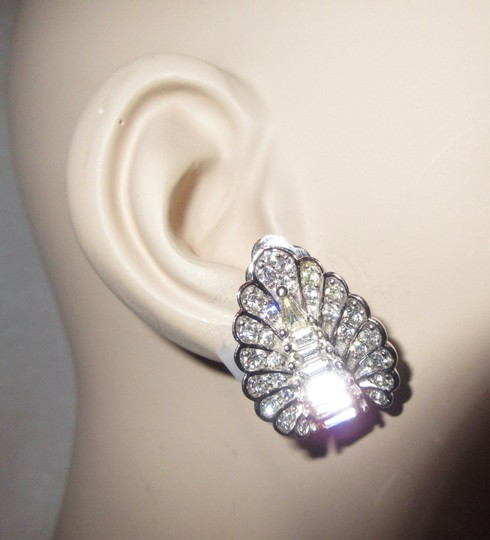 Other Pennino Crystal Baguette Clip Earrings 1950's Mid Century Signed Image 3