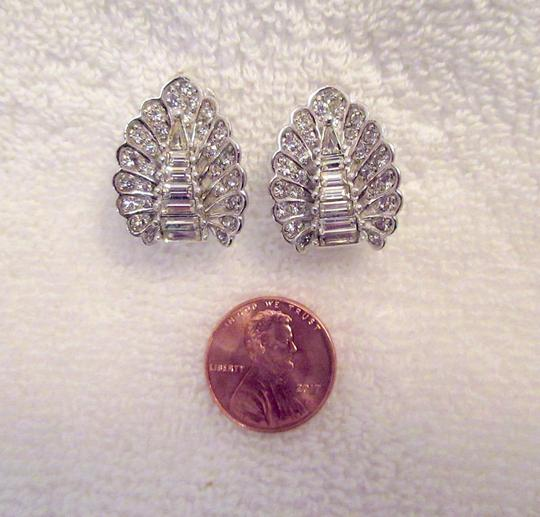 Other Pennino Crystal Baguette Clip Earrings 1950's Mid Century Signed Image 4